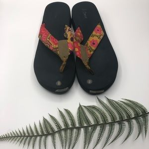 J Crew Factory Wedge Floral Print Sandals Size 8